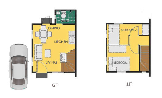 Reva Floor Plan House and Lot in Amadeo